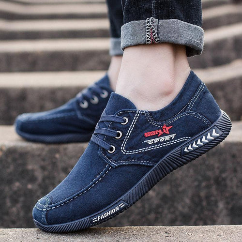Men's Canvas Shoes Soft Lace-up Casual Shoes - zonechics