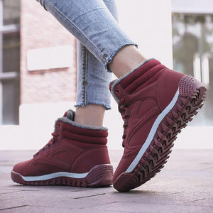 Women's Warm Lining High Top Lace Up Winter Ankle Casual Boots - zonechics