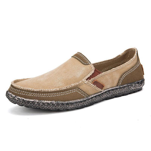 Men Washed Canvas Splicing Soft Sole Slip On Casual Shoes - zonechics