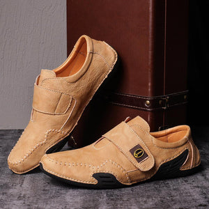 Men's Casual Hand Stitching Leather Hook Loop Soft Shoes - zonechics