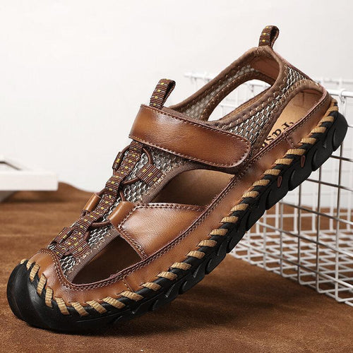 Men Casual Breathable Mesh Soft Bottom Hand-stitched Sandals - zonechics