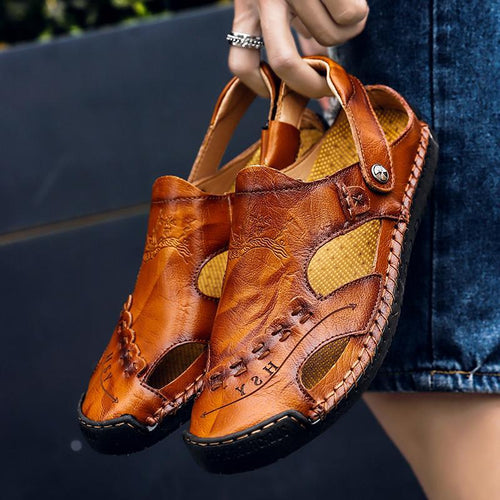 Men's Casual Breathable Handmade Leather Sandals - zonechics