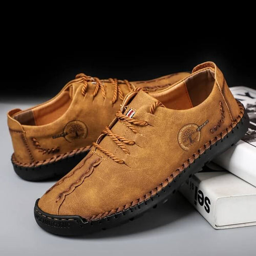 Men's Hand Stitching Non Slip Soft Sole Casual Leather Shoes - zonechics