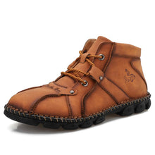 Load image into Gallery viewer, Men's Outdoor Hand-stitched Leather Lace Up Hiking Ankle Boots - zonechics