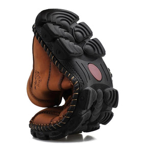 Men's Outdoor Hand-stitched Leather Lace Up Hiking Ankle Boots - zonechics