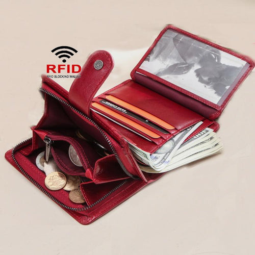 Genuine Leather RFID Trifold Anti-theft Retro Wallet - zonechics