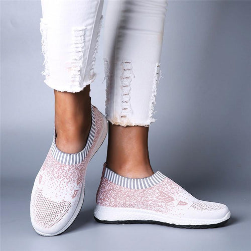 Women Casual Sports Shoes Light Breathable Hollow Mesh Slip On Sneakers - zonechics