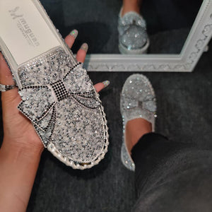Women Shining Rhinestone Slip-on Loafers with Cute Bowknot - zonechics