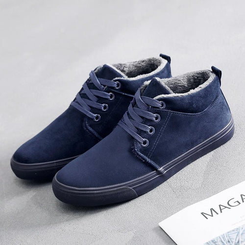 Men's Canvas Casual Shoes Plush Lining Snow Cotton Shoes - zonechics