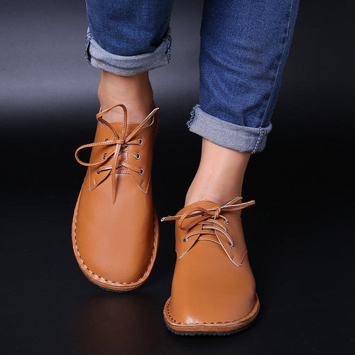 Plus Size Women Flat Shoes Soft Lace Up Casual Shoes - zonechics