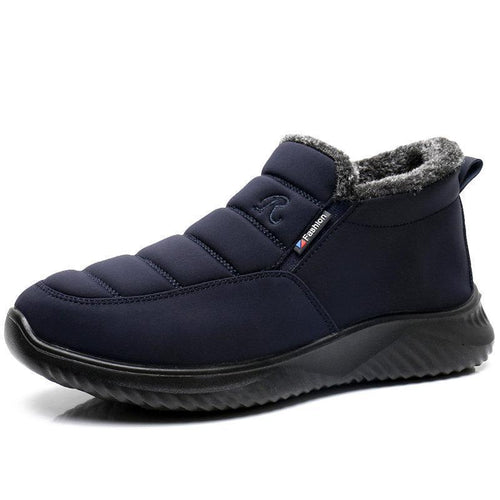 Men Waterproof Cloth Plush Lining Slip On Casual Snow Boots - zonechics