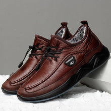 Load image into Gallery viewer, Men Warm Leather Shoes Elastic Lace Slip-resistant Casual Shoes - zonechics