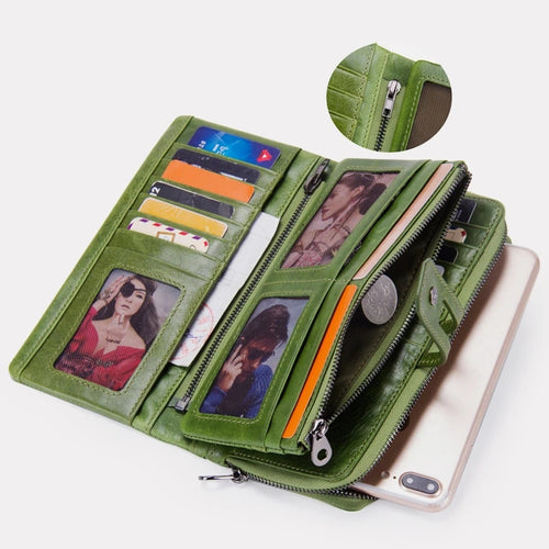 Genuine Leather Multifunctional Trifold Buckle Wallet - zonechics