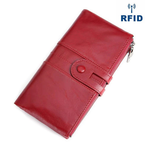 Genuine Leather RFID Long Wallet - zonechics