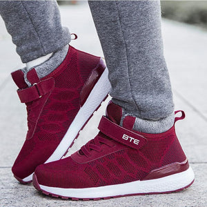 Women Fashion Athletic Soft Mesh Fabrics Lace Round-Toe Warm Winter Casual Shoes - zonechics