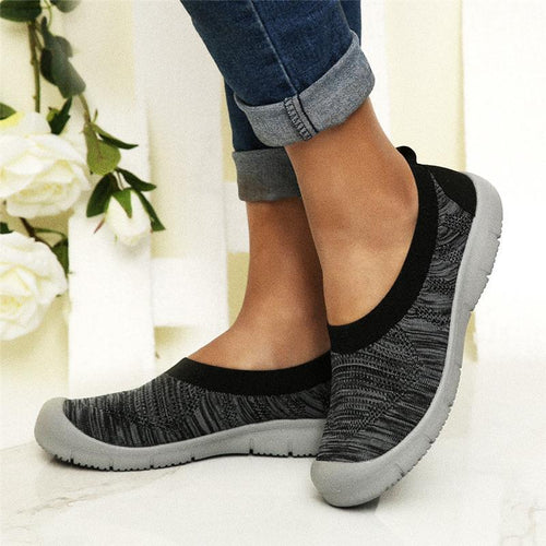 Women Flyknit Fabric Breathable Sneakers Slip On Running Shoes - zonechics