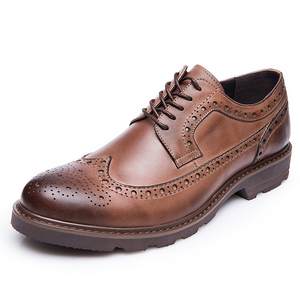 Men Carved Vintage British Style Handmade Baroque Leather Shoes - zonechics