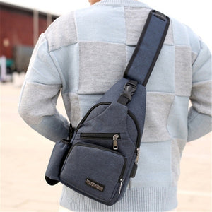 Large Capacity Outdoor Travel USB Charging Sling Bag Chest Bag Crossbody Bag - zonechics