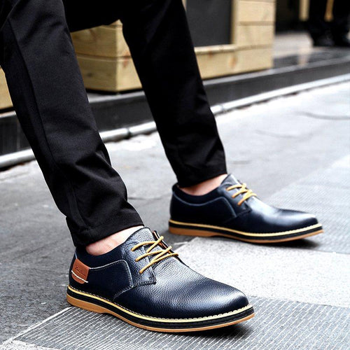 Large Size Men Leather Shoes Split Joint Formal Shoes - zonechics