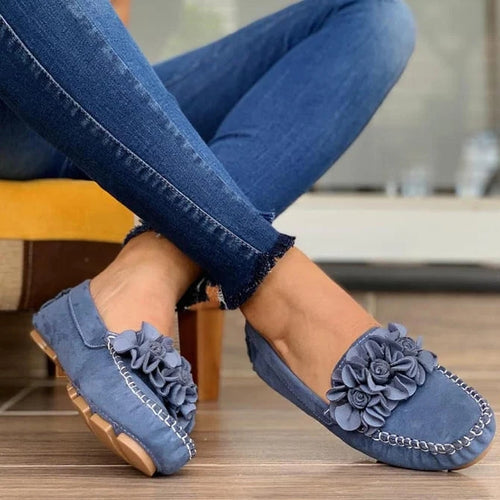 Women Comfy Slip-on Flower Suede Loafers - zonechics
