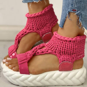 Women Sandals Knitted Cutout Platform Sandals - zonechics
