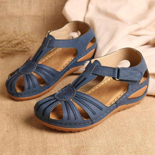 Women Non-Slip Wedges Flower Splicing Casual Comfort Adjustable Sandals - zonechics