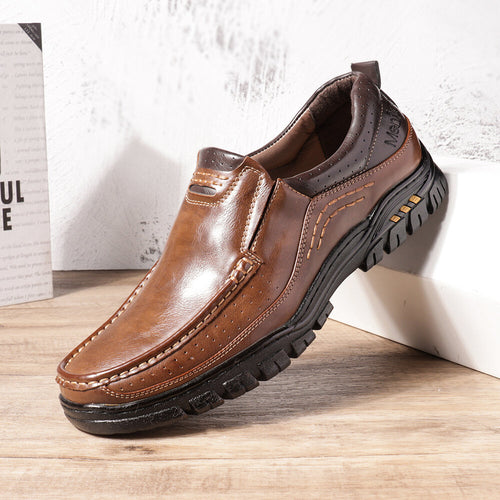 Men Non Slip Stitching Slip On Outdoor Casual Leather Shoes - zonechics