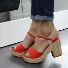 Load image into Gallery viewer, Women Chunky Espadrille Heels - zonechics