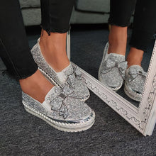 Load image into Gallery viewer, Women Shining Rhinestone Slip-on Loafers with Cute Bowknot - zonechics