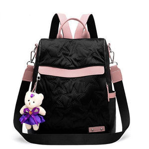 Anti-theft Contrast Color Embossing Backpack - zonechics