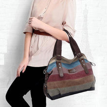 Load image into Gallery viewer, Color Block Stripe Vintage Shoulder Bag - zonechics