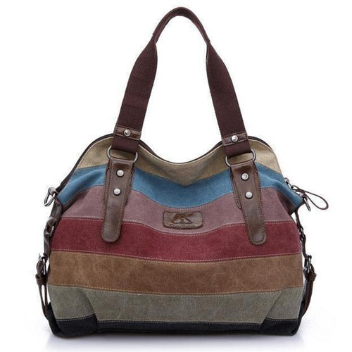 Color Block Stripe Vintage Shoulder Bag - zonechics