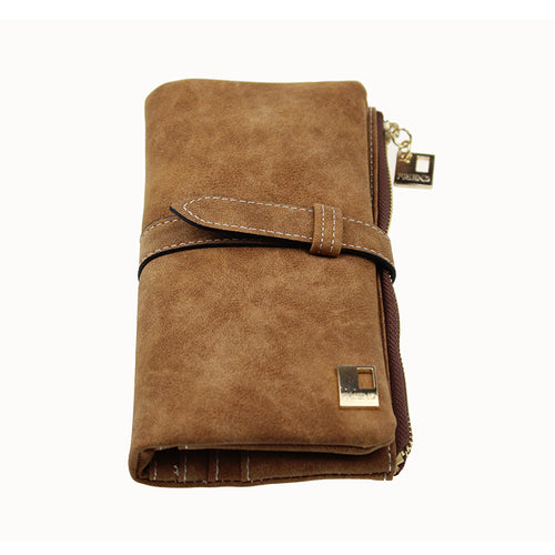Women Leather Zipper Suede Wallet Long Purse - zonechics