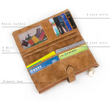 Load image into Gallery viewer, Women Leather Zipper Suede Wallet Long Purse - zonechics