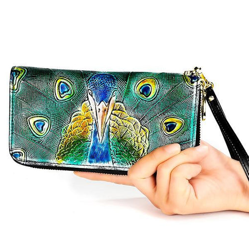 RFID Genuine Leather Large Capacity Printing Wallet - zonechics