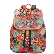 Load image into Gallery viewer, Genuine Leather Anti-theft Multicolor Flower Backpack - zonechics