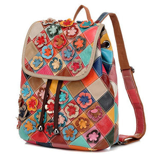 Genuine Leather Anti-theft Multicolor Flower Backpack - zonechics