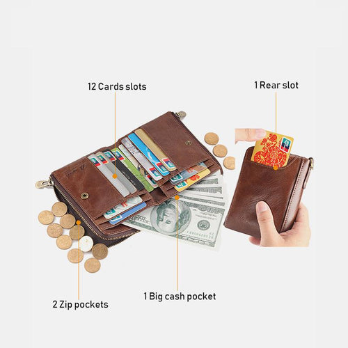 Genuine Leather RFID Multi-Slot Mini Wallet - zonechics