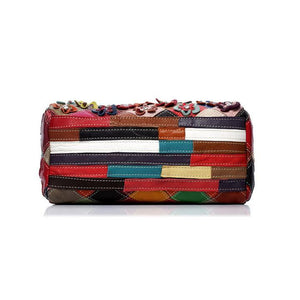 Genuine Leather Multicolor Flower Handbag - zonechics
