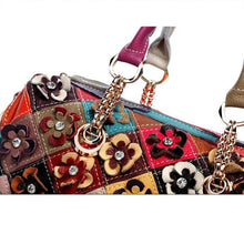 Load image into Gallery viewer, Genuine Leather Multicolor Flower Handbag - zonechics
