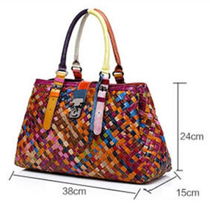 Genuine Leather Multicolor Woven Bag Hobo Tote - zonechics