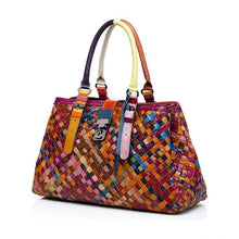 Load image into Gallery viewer, Genuine Leather Multicolor Woven Bag Hobo Tote - zonechics