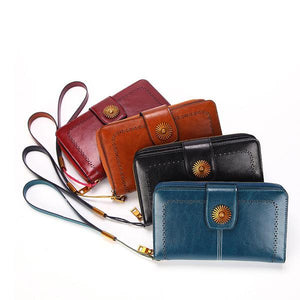 Genuine Leather Oil Wax Leather Zipper Wallet - zonechics