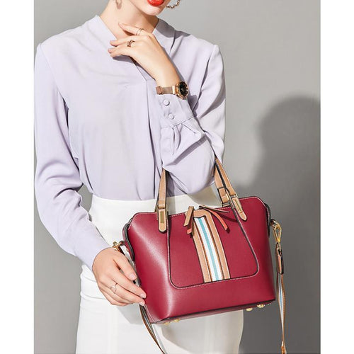Genuine Leather Stripe Elegant Tote - zonechics