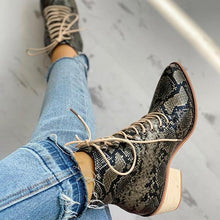 Load image into Gallery viewer, Women Pointed Toe Lace-up Snakeskin Chunky Heeled Boots - zonechics