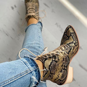 Women Pointed Toe Lace-up Snakeskin Chunky Heeled Boots - zonechics