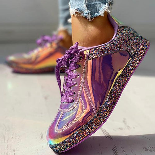 Women Fashion Glitter Colorblock Lace-up Sneakers - zonechics