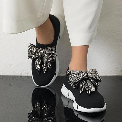 Fashion Women Rhinestone Bow Breathable Sneakers - zonechics