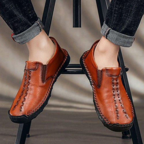 Men's Leather Shoes Hand Stitching Zipper Daily Casual Shoes - zonechics