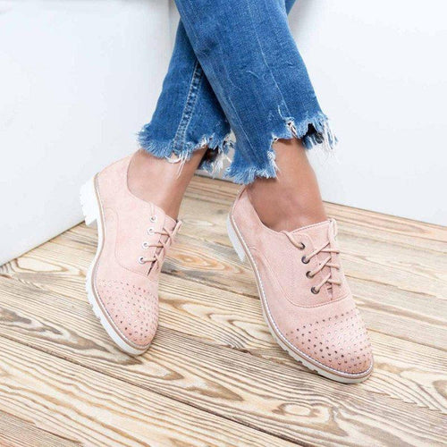 Womens Flat Shoes With Rhinestone Suede Lace Up Loafers - zonechics